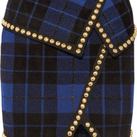 Balmain - Asymmetric embellished tartan jacquard-knit mini skirt