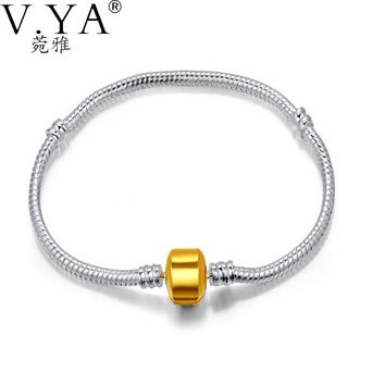V.YA European Gold Clasp Snake Chains Bracelets Fit Fashion Women Gifts Charm Beads Screw Snake Chain Bracelet 16-23CM Wholesale