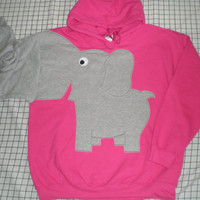 Elephant trunk sleeve HOODIE sweatshirt Bubblegum Pink Medium