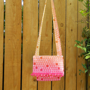 Peace and Love Ombre Orange Pink Yellow Envelope Hip Bag with Shoulder Strap Lightweight