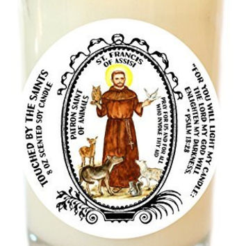 Saint Francis Patron of Animals 8 Oz Scented Soy Glass Prayer Candle