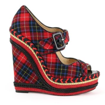 new CHRISTIAN LOUBOUTIN red tartan checked print canvas trimme wedge sandal EU36