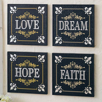 Mirrored Sentiment Wall Art Love Dream Hope Faith Fleur De Lis Accent French Country