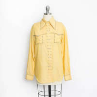 Vintage 1960s Studded Blouse - Yellow Western Snap Button Up Shirt Top - Large