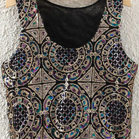Black Paisley Sequined Top