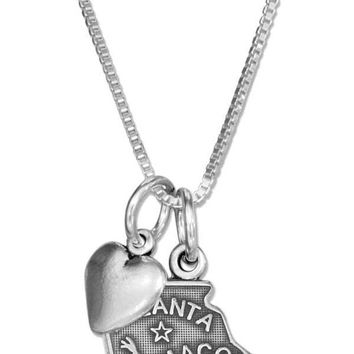 """Sterling Silver 18"""" Georgia State Pendant Necklace With Heart Charm"""