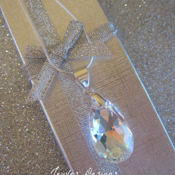 Swarovski Crystal Teardrop Pendant with a Sterling Silver Chain, Bridesmaid necklaces, Bridesmaid gifts.