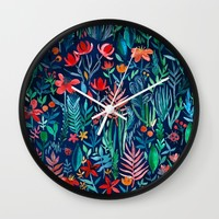 Tropical Ink - a watercolor garden Wall Clock by Micklyn | Society6
