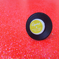 Black Yellow Record Album Adjustable Ring - Vintage Miniature Record - Plastic Kitsch Jewelry - Silver Plated Adjustable Ring