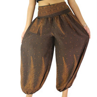 comfy hippie pant long pants peacock design unisex