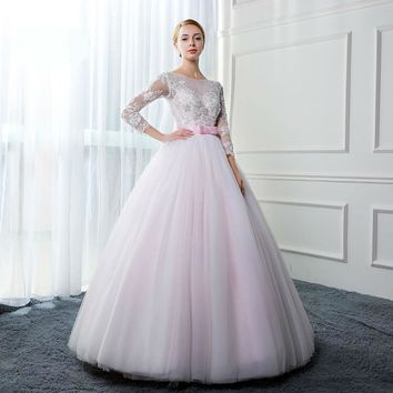 Wedding Dresses Appliques Tulle Long Sleeves Bridal Gowns