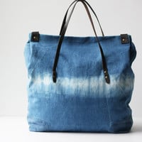Indigo Dyed One of a Kind Organic Weekend Bag: no.1