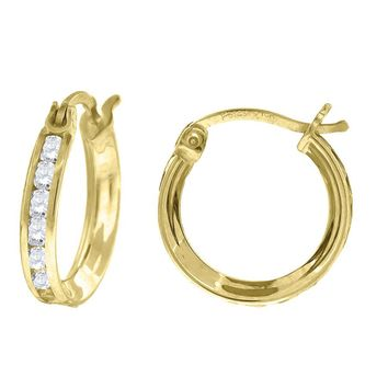 Sparkling Round CZ Classic Polished Hoop Earrings in 10k Yellow Gold