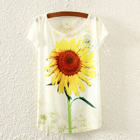 White Short Sleeve Sunflower Print T-Shirt