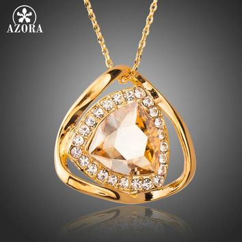 AZORA Gorgeous Big Champagne Austrian Crystals Pendant Necklace for Women New Trendy Jewellery Necklaces Pendants Gifts TN0209