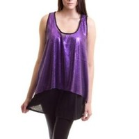 Sequin Double Layer Sleeveless Tunic Top Blouse Purple Plus Size