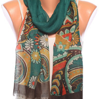 floral scarf shawl birthday gift Summer Scarves womens Scarves spring scarf pareo Womens Fashion scarves womens Accessories green scarf