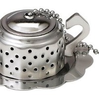 HIC Loose Leaf Tea Infuser with Caddy, Teapot, 18/8 Stainless Steel, 2.25-Inch by 1.5-Inch