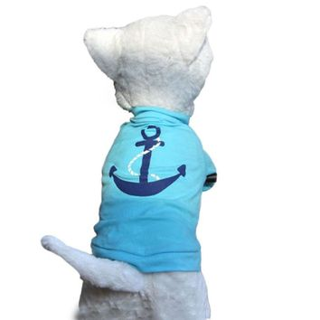 Sailor Themed Blue Cat Shirt with Anchor Logo