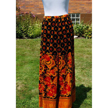 Vintage Velvet Maxi Skirt, 60s Abercrombie & Fitch by Tannerway, Long, Full Skirt, Orange gold Floral, Geometric
