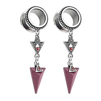 BodyJ4You Pair Surgical Steel Screw-Fit Tunnel Arrow Dangle Tribal Plug 00G (10mm) Gauges