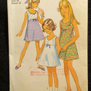 Sale 1960's Simplicity Sewing Pattern, 8274! Size 14 Girls/Kids/Pre-Teen/Sleeveless Sun Dress/Mini Length/Thigh Length Short Dresses/Easy Se