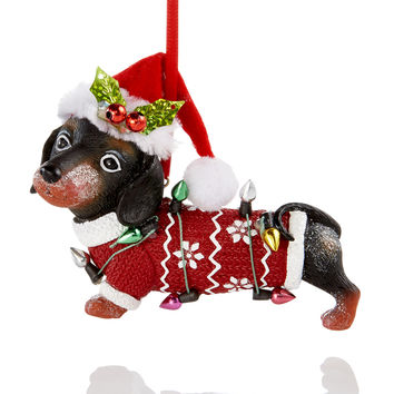 Holiday Lane Dachshund With Santa Hat Ornament, Created for Macy's | macys.com