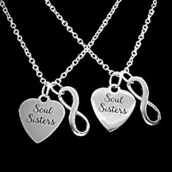 Soul Sisters Heart Infinity Sister Best Friends Friend Gift Charm Necklace Set