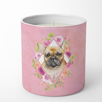 Fawn French Bulldog Pink Flowers 10 oz Decorative Soy Candle CK4144CDL