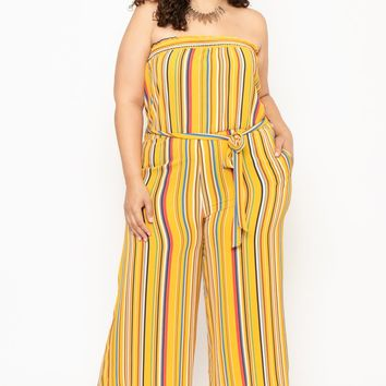 Plus Size Koshion Stripe Tube Jumpsuit - Mustard