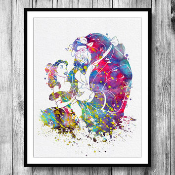 Instant Download Beauty and the Beast Belle Disney Princess Watercolor Art Digital Printable PNG JPEG Wall Art For Girls Art Wall Decor