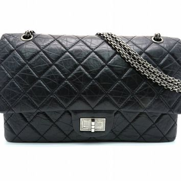 Chanel Quilted Aged Calf Leather 2.55 Chain Shoulder Bag Black 7323