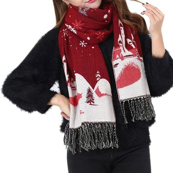 2017 New women's christmas scarves Winter Imitation Cashmere scarf Tassels Christmas Snowflakes Warm Scarves for women #JY1107