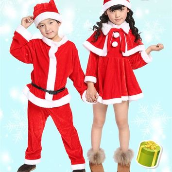 Unisex Kids Boys Girls Red Santa Claus Costume Christmas Party Gift Giver Cosplay Clothes Cape Dress Hats