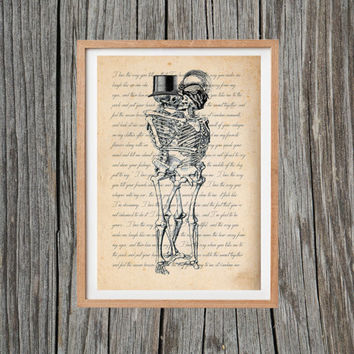 Vintage Skeleton Print Love Poster Print Antique Wall Art