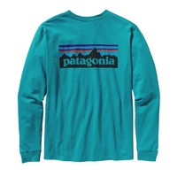 Patagonia Men's Long-Sleeved P-6 Logo Organic Cotton T-Shirt | Tobago Blue