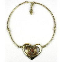 Peach Tiger Eye Brass Heart Necklace - Brass Images (N)