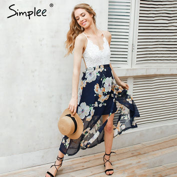 Simplee Sexy print lace summer dress Strap deep v neck high waist beach dresses women 2017 new slit backless long dress