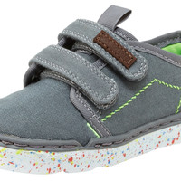 Step & Stride Boy's Aden Grey Double Hook and Loop Paint Splatter Sole Strap Sneaker