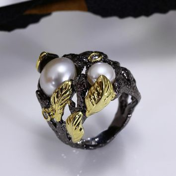 Women Party Hiphop Cocktail Fresh Water Pearl Ring Black Gold-color Zirconia Bezel Vintage Anillos Punk Sizes 7 8 9 10