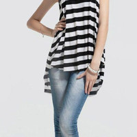 Front Short Back Long Hollow Out Stripe Top