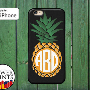 Pineapple Fruit Monogram Yellow Green White Custom Cute iPhone 5 5s 5c iPhone 6 and 6 Plus iPhone SE iPhone 6s Plus iPhone 7 Plus Case
