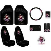 Ed Hardy Love Kills Slowly Seat Covers, Floor Mats, Steering Wheel Cover, Shoulder Belt Pads, Visor Organizer, Pouch and Decal 10-pc Set