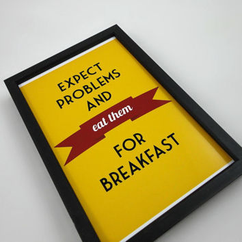 Typography Print Eat Problems for Breakfast  by SacredandProfane