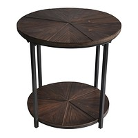 Jackson Round Metal And Rustic Wood End Table By Crestview Collection Cvfzr1907