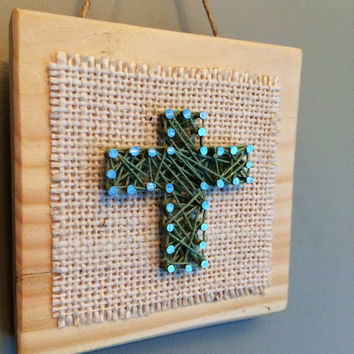 Wooden cross wall or shelf decor- string art- faith.