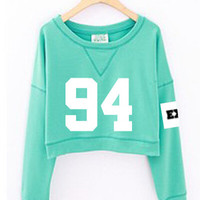 2015 fashion women's exo spring autumn number printed cropped sweatshirts kpop short hoodies mint green white sudadera mujer