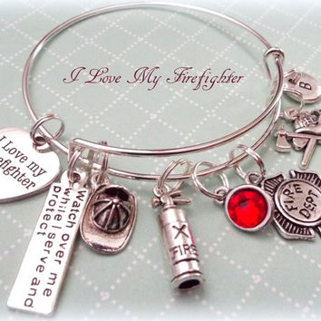 Firefighter Wife Gift, Gift Idea for Firefighter Wife, Gift Ideas for Her, Women's Gift Ideas, I Love My Firefighter Charm Bracelet