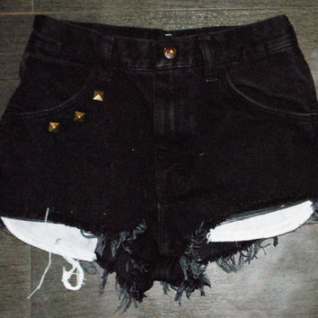 Black Studded Cut-Offs