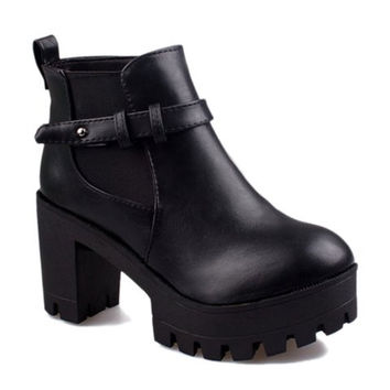 Black Laconic Ankle Boots With Belt